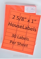 Picture of HouseLabels' brand, 30 Labels per Sheet, NEON RED (100 sheets, shipping included)