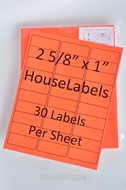 Picture of HouseLabels' brand, 30 Labels per Sheet, NEON RED (2000 sheets, shipping included)