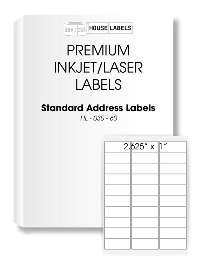 Picture of HouseLabels' brand, 30 Labels per Sheet (700 sheets, shipping included)
