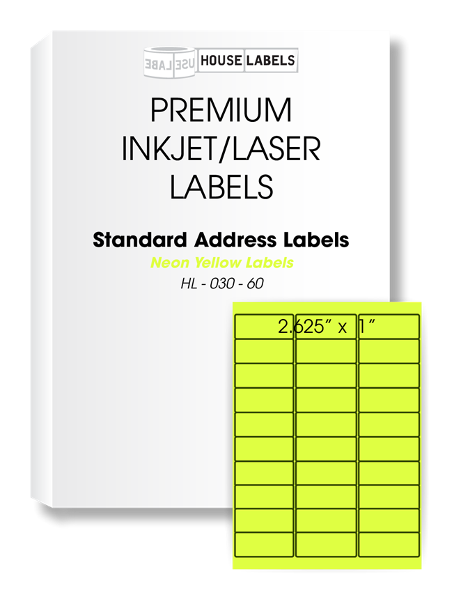 Picture of HouseLabels' brand, 30 Labels per Sheet, NEON YELLOW (100 sheets, shipping included)