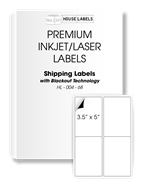 Picture of HouseLabels' brand – 4 Labels per Sheet – BACKOUT Technology (200 Sheets – Shipping Included)