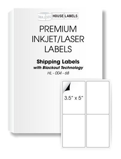Picture of HouseLabels' brand – 4 Labels per Sheet – BACKOUT Technology (1000 Sheets – Shipping Included)