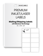 Picture of HouseLabels' brand, 10 Labels per Sheet, BLACKOUT technology (2000 sheets, shipping included)