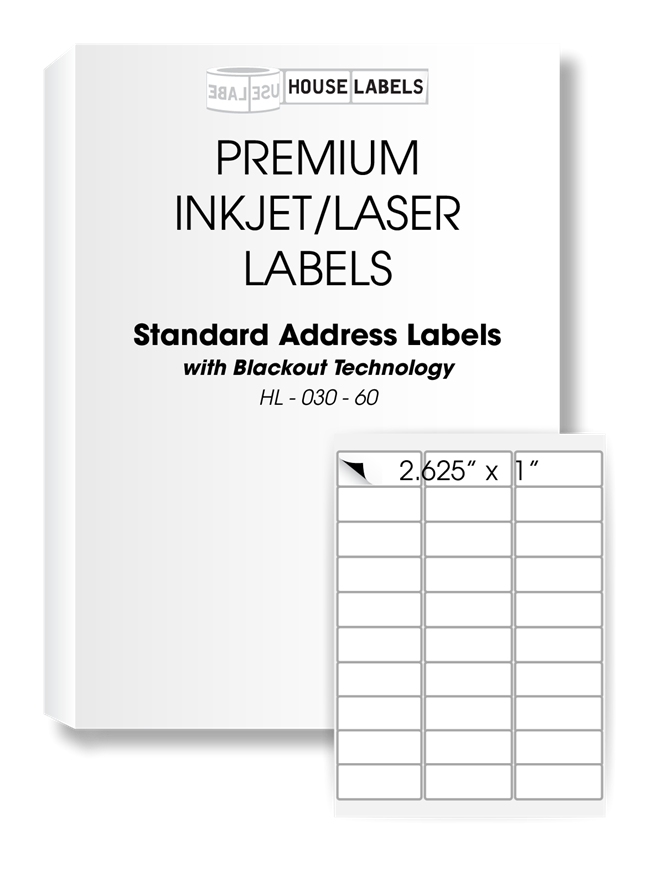 Picture of HouseLabels' brand, 30 Labels per Sheet, BLACKOUT technology (600 sheets, shipping included)