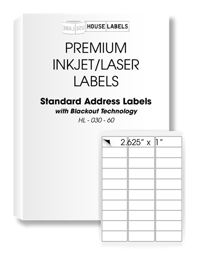 Picture of HouseLabels' brand – 30 Labels per Sheet – BLACKOUT Technology (1000 Sheets – Shipping Included)