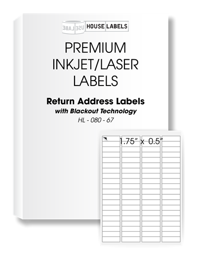 Picture of HouseLabels' brand – 80 Labels per Sheet – BLACKOUT Technology (2000 Sheets – Shipping Included)