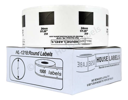 "Picture of BROTHER-Compatible DK-1218 Round Labels (Diameter 1""/25.4mm; 1000 Labels per Roll) -- BPA Free!"