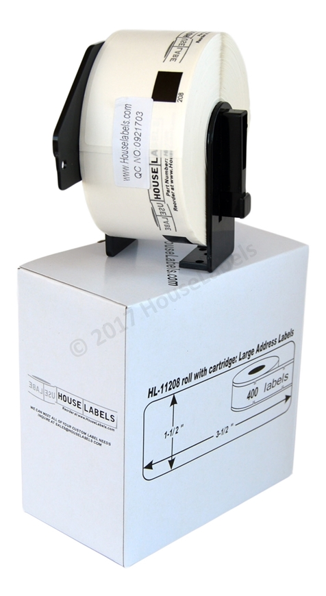 Picture of 12 Rolls, Brother DK-1208 (DK11208) with permanent cartridge