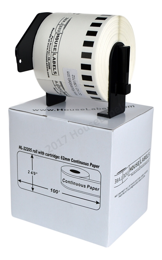 Picture of 10 Rolls, Brother DK-2205 (DK22205) with permanent cartridge