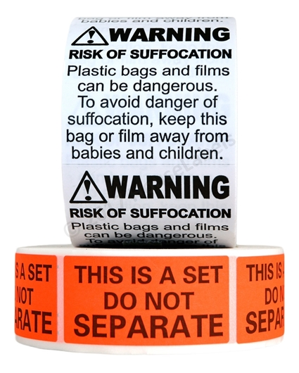 "Picture of FBA Combo Pack (1 Roll Of Suffocation Warning Stickers And 1 Roll of ""This is A Set Do Not Separate"" Stickers) Everything You need to Label Your Products Ready For FBA"