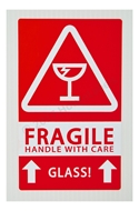 Picture of (8 Rolls , 500 Labels) Pre-Printed 3x5 Fragile GLASS This Way Up Labels. Free Shipping