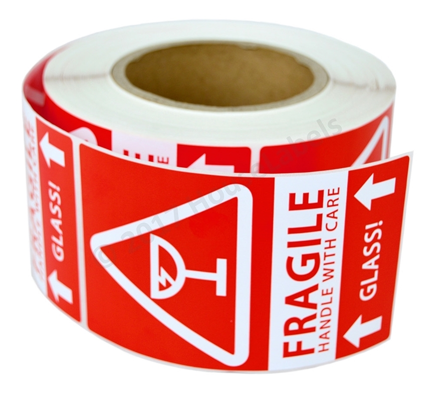 Picture of (30 Rolls , 500 Labels) Pre-Printed 3x5 Fragile GLASS This Way Up Labels. Free Shipping