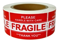 Picture of (48 Rolls , 500 Labels) Pre-Printed 2x3 Fragile Please HANDLE WITH CARE. Free Shipping
