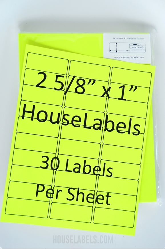 Picture of HouseLabels' brand, 30 Labels per Sheet, NEON YELLOW (25 sheets, shipping included)