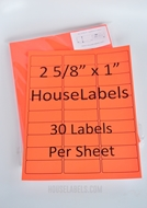 Picture of HouseLabels' brand – 30 Labels per Sheet – NEON RED (25 Sheets – Shipping Included)
