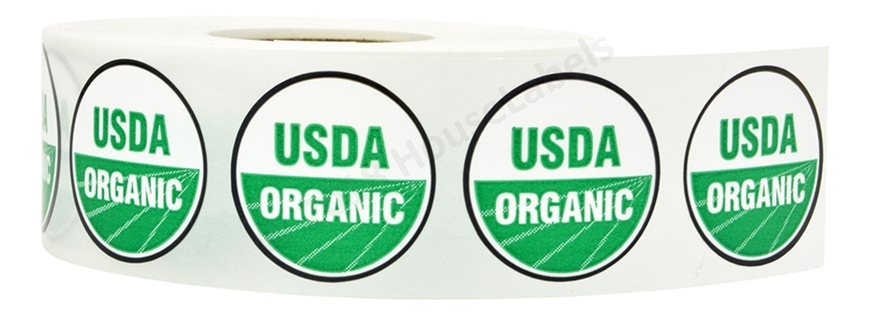 Picture of 1 Roll (1000 labels) USDA Organic Labels 1 Inch Round Circle Adhesive Stickers