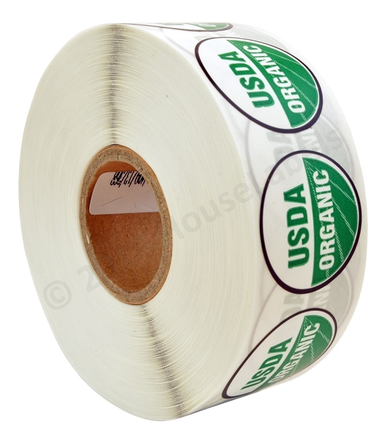Picture of 16 Rolls (16000 labels) USDA Organic Labels 1 Inch Round Circle Adhesive Stickers