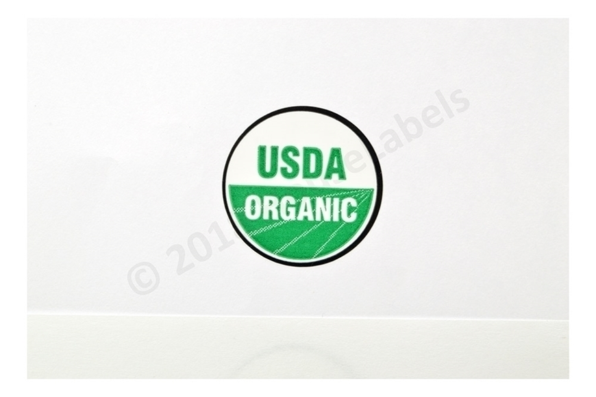 Picture of 80 Rolls (60000 labels) USDA Organic Labels 1 Inch Round Circle Adhesive Stickers