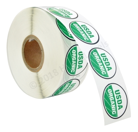 Picture of 120 Rolls (120000 labels) USDA Organic Labels 1 Inch Round Circle Adhesive Stickers
