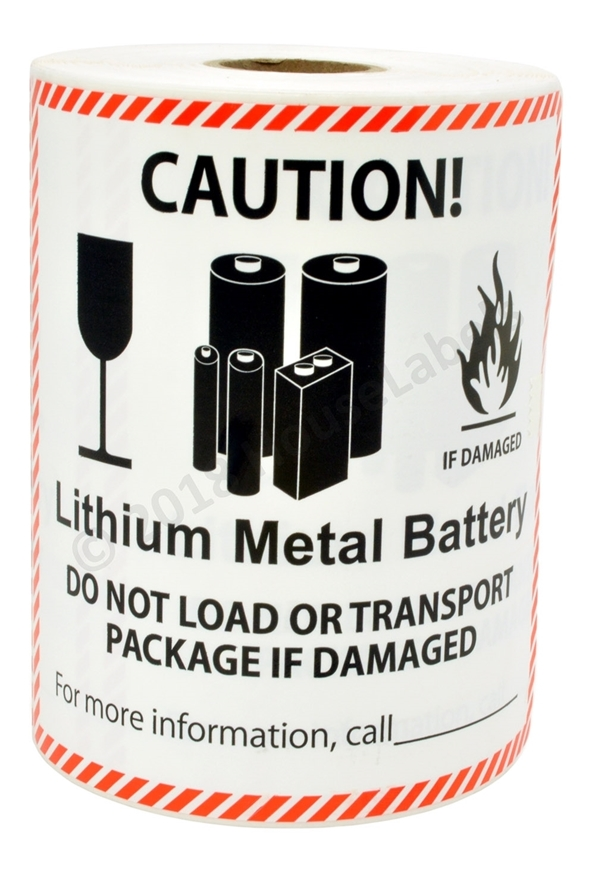 """Picture of 1 Roll (300 labels per roll) Pre-Printed 4 5/8' x 5"""" CAUTION LITHIUM METAL BATTERY FREE SHIPPING"""