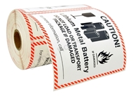 """Picture of 12 Rolls (300 labels per roll) Pre-Printed 4 5/8' x 5"""" CAUTION LITHIUM METAL BATTERY FREE SHIPPING"""