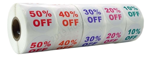 Picture of Discount Labels Combo Pack - 15 Rolls, 3 Rolls of each % Discount (10-50%)