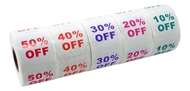 Picture of Discount Labels Combo Pack - 45 Rolls, 9 Rolls of each % Discount (10-50%)