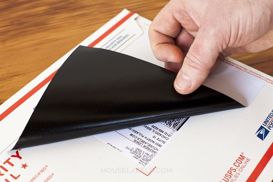 Picture of HouseLabels' brand, 2 Labels per Sheet, BLACKOUT technology (shipping excluded)