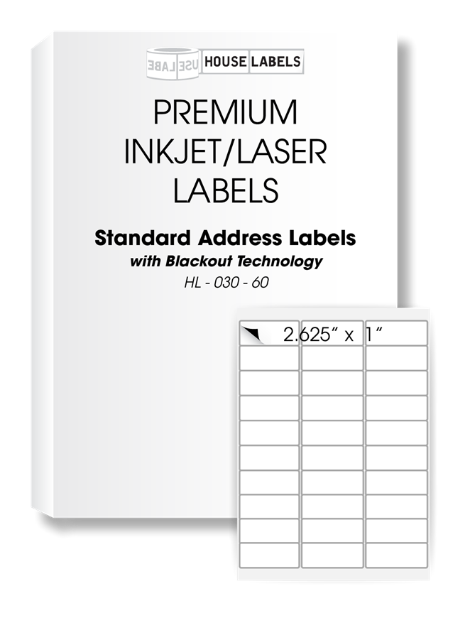 Picture of HouseLabels' brand – 30 Labels per Sheet – BLACKOUT Technology