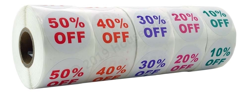 Picture of Discount Labels One Pack - 5 Rolls, 1 Roll of each % Discount (10-50%)