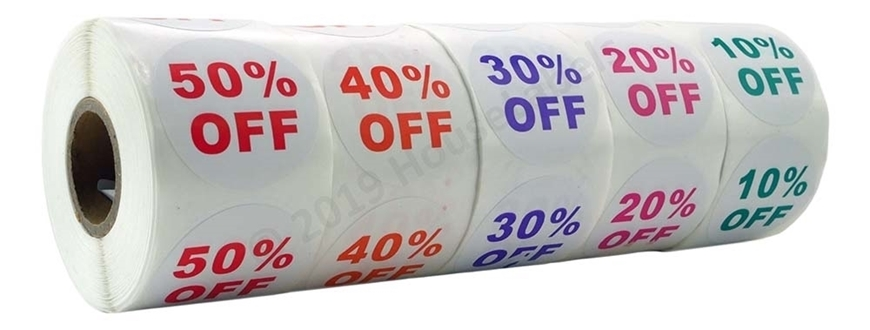 Picture of Discount Labels One Pack - 10 Rolls, 2 Rolls of each % Discount (10-50%)