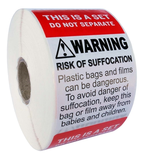 "Picture of 6 Rolls (500 labels per roll) Pre-Printed 2"" x 3"" THIS IS SET / SUFFOCATION WARNING - FREE SHIPPING"