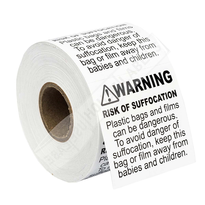 Picture of 24 Rolls (500 Labels Per Roll) Pre-Printed 2x2 FBA Approved Suffocation Warning Labels. Free Shipping