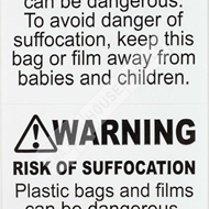 Picture of 1 Roll (500 Labels) Pre-Printed 2x2 FBA Approved Suffocation Warning Labels. Free Shipping