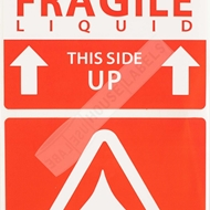 Picture of (30 Rolls, 500 Labels) Pre-Printed 3x5 Fragile LIQUID This Way Up Labels. Free Shipping