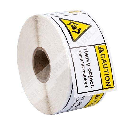 Picture of 36 rolls (500 labels per roll) Pre-Printed 3x1.5 CAUTION HEAVY OBJECT Team Lift Required FREE SHIPPING